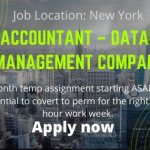 Jr. Accountant – Database Management Company – Long Term Temp (Manhattan) – Job news 2020
