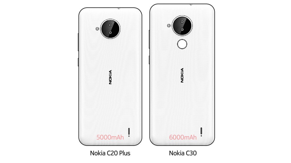 The large Nokia C20 Plus and Nokia C30 on the go with dual camera settings