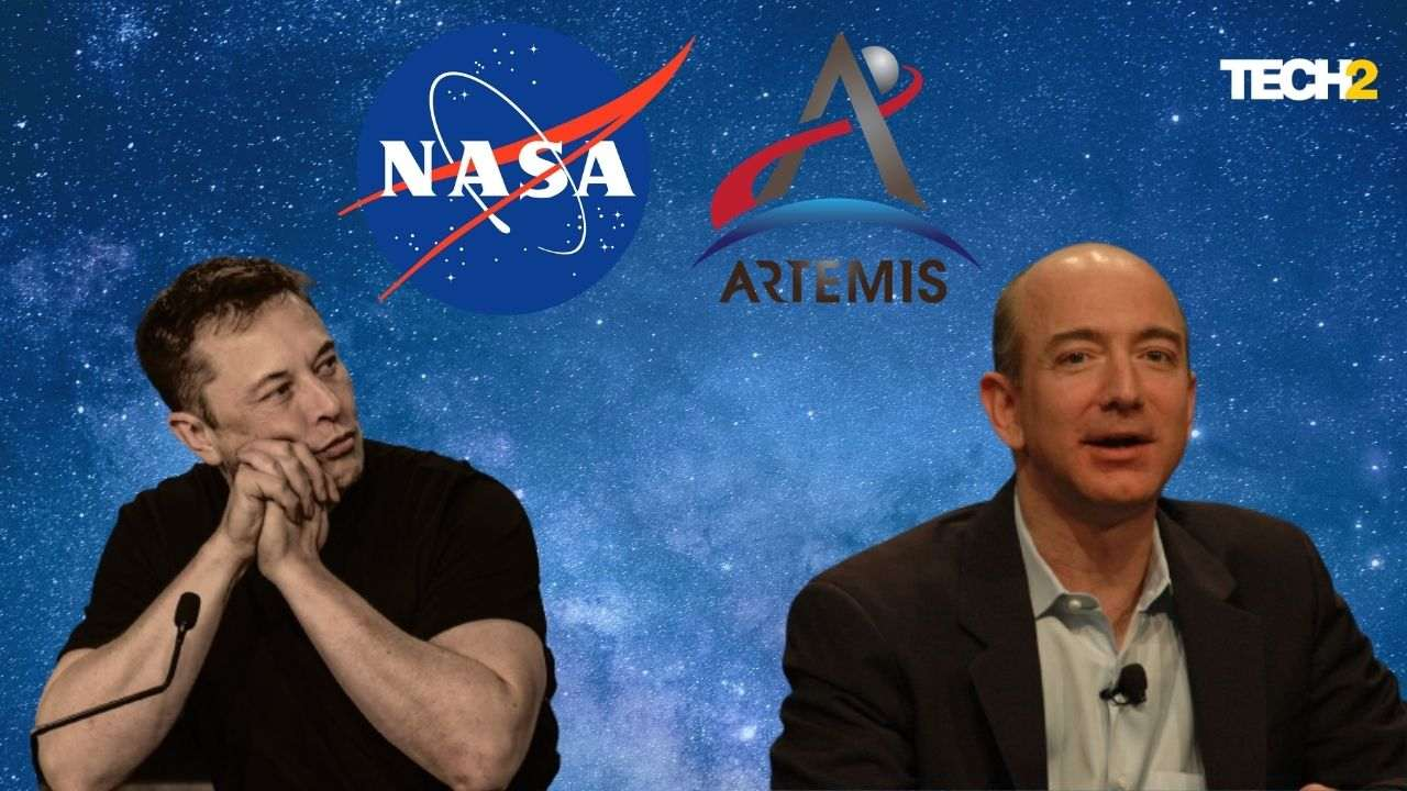 Jeff Bezos and Elon Musk have channeled some of their vast fortunes to private space exploration companies since the turn of the century.  Image credit: Tech2 / Abigail Banerji