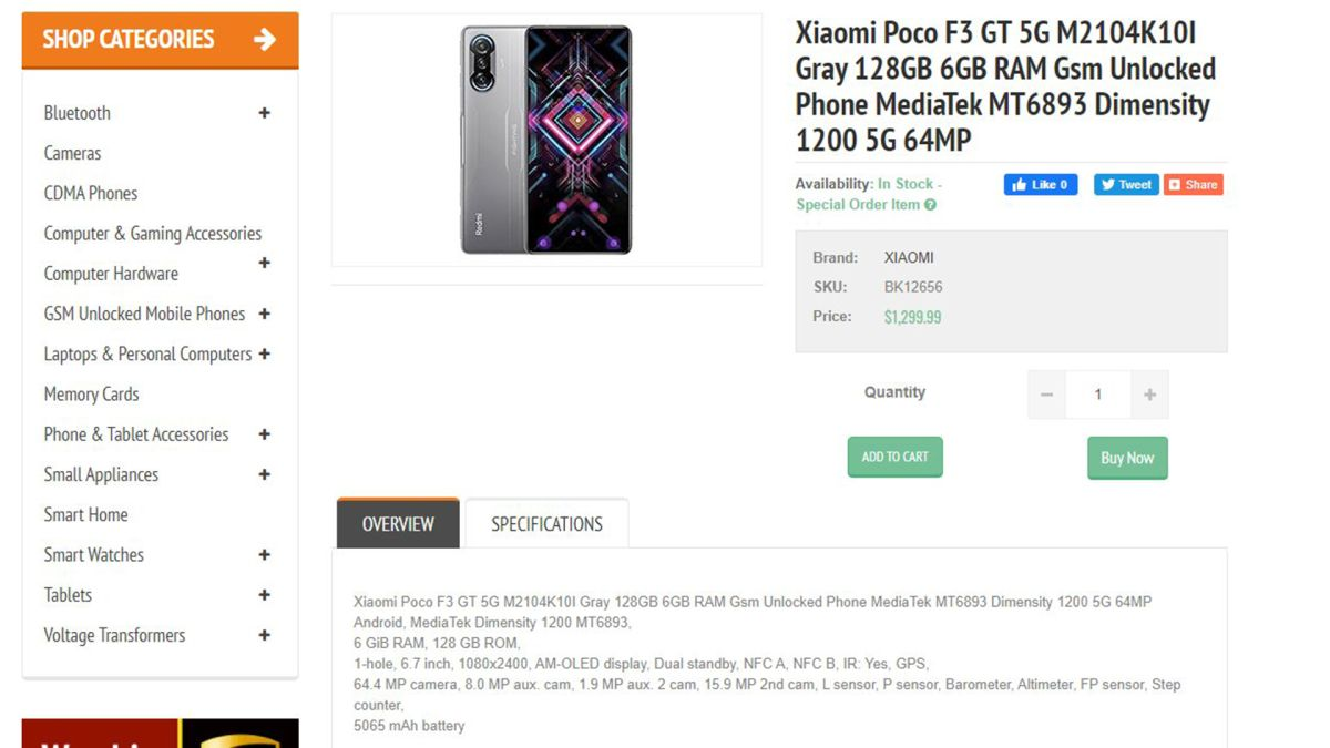 The Poco F3 GT was discovered on the e-commerce website before release