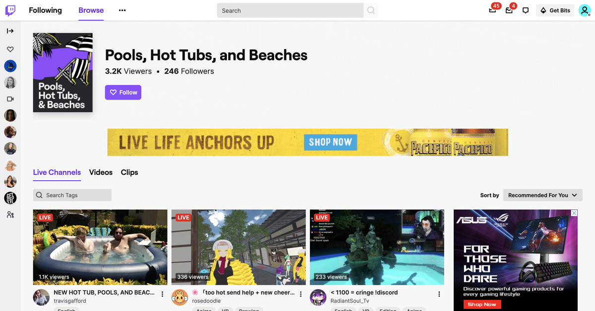 Twitch will launch a special hot tub class after the advertiser's push