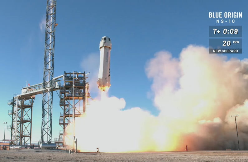 The blue origin still reveals the highest bid in the space travel auction