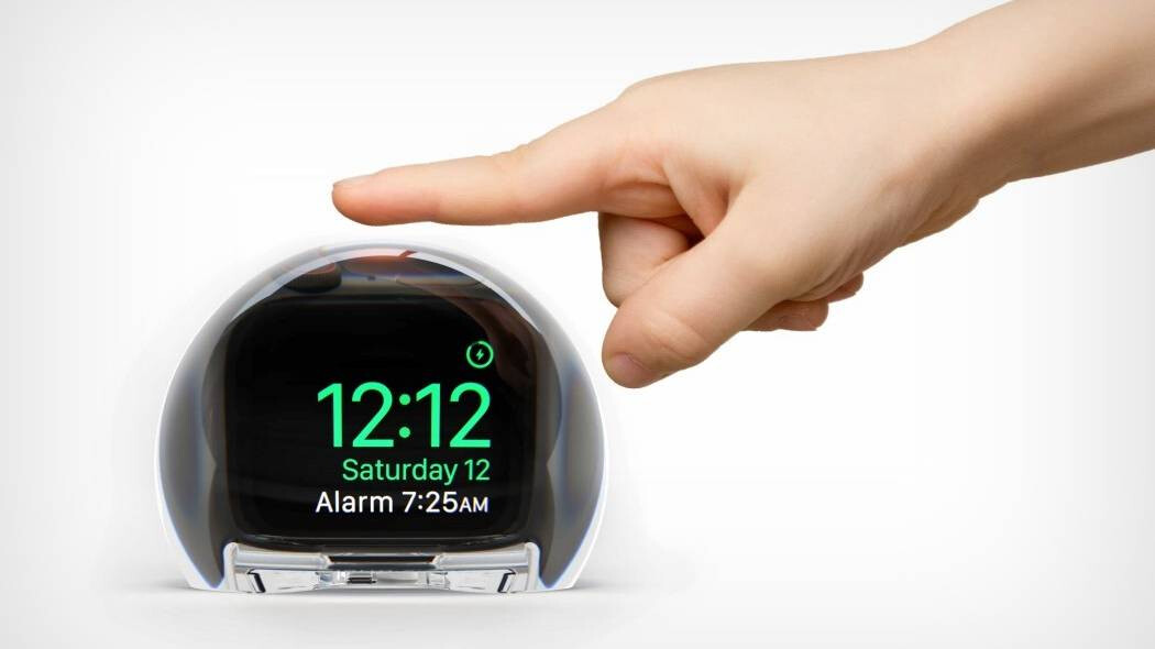 Change your Apple Watch to a weird looking bed clock with this glass dock