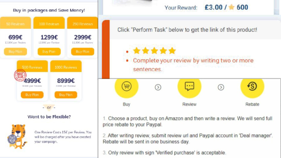 AMZTigers sells individual (£ 13) and bulk packages starting at £ 620 for 50 reviews.  Prices can go up to £ 8,000 from 1,000 reviews.  In other words, it is a serious movement.  - Whether Amazon and Google encourage fake reviews