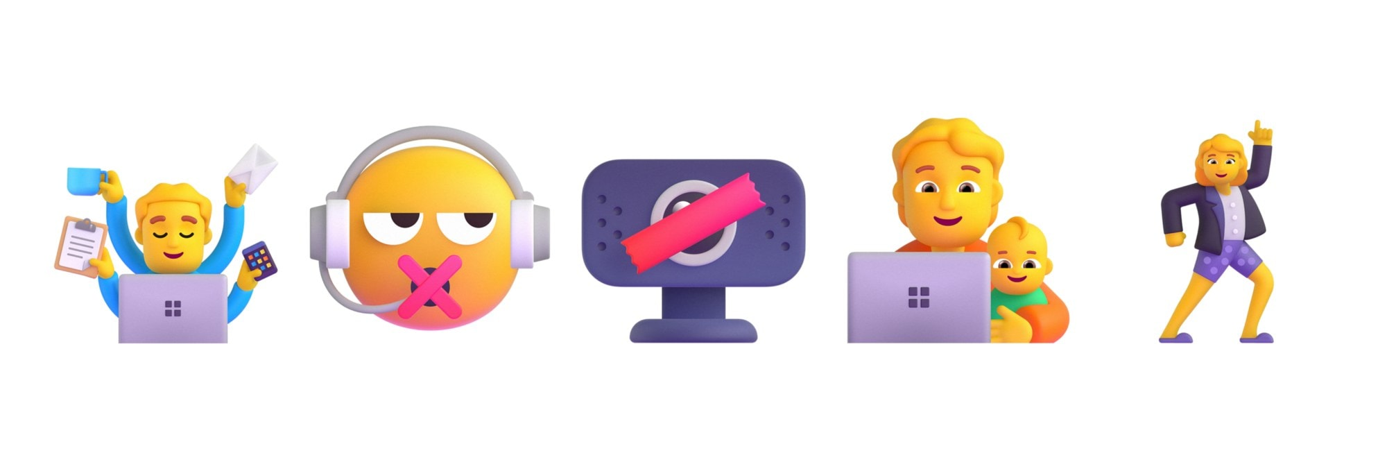 Concept design for emoticons suitable for the workplace.  Image: Microsoft