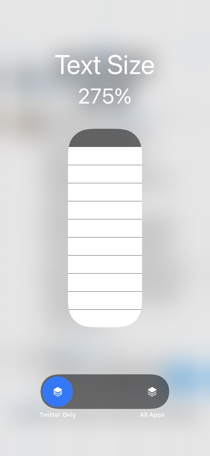 Use the selector at the bottom to change the text size for one application.