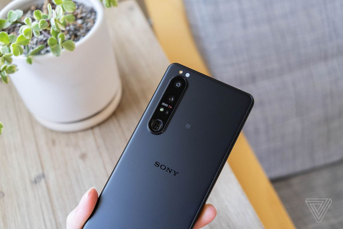 The Xperia's rear panel includes three cameras and a time-of-flight sensor.