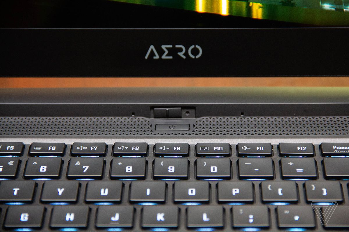 Aero logo and webcam on the Gigabyte Aero 15.