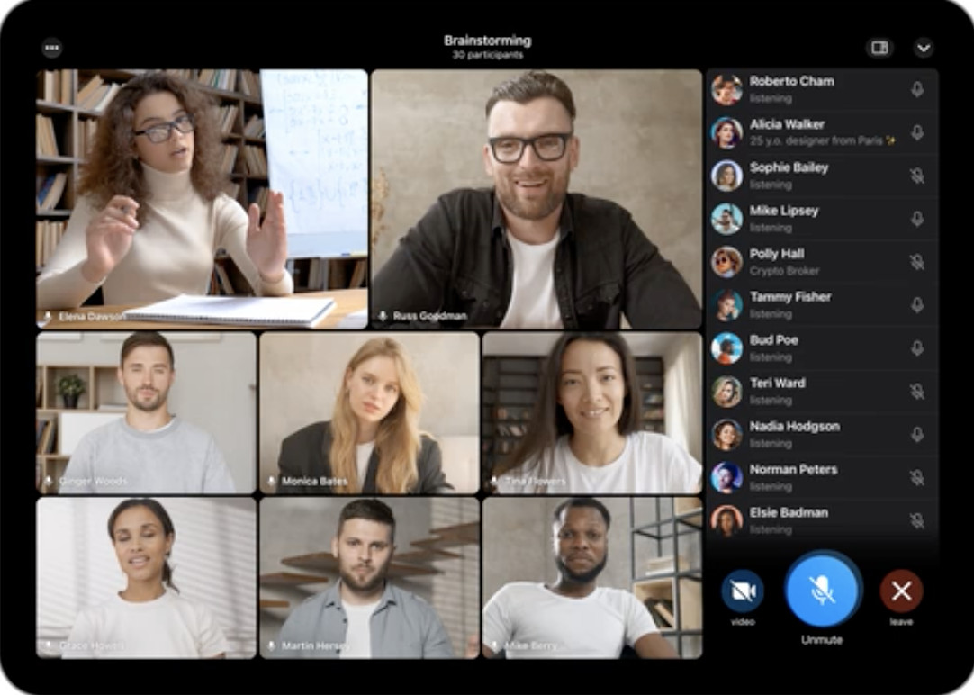 Telegram has introduced group video chats.