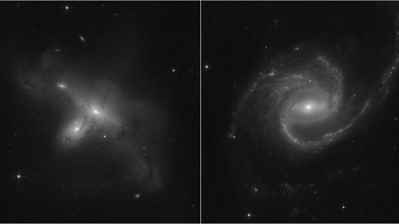 These images of a program led by Julianne Dalcanton at the University of Washington in Seattle show Hubble's return to complete science. [Left] ARP-MADORE2115-273 is a rarely observed example of interacting galaxy pairs in the southern hemisphere. [Right] ARP-MADORE0002-503 is a large spiral galaxy with unusual, enlarged spiral arms.  While most disk galaxies have an even number of spiral arms, this one has three.  Credits: Science: NASA, ESA, STScI, Julianne Dalcanton (UW) Image processing: Alyssa Pagan (STScI)