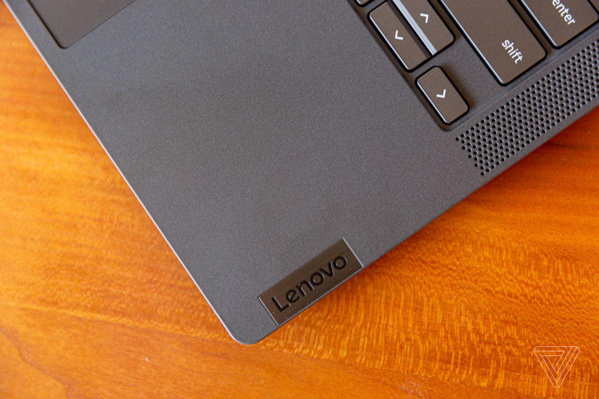 Lenovo Flex 5 Chromebook bottom right corner left corner.
