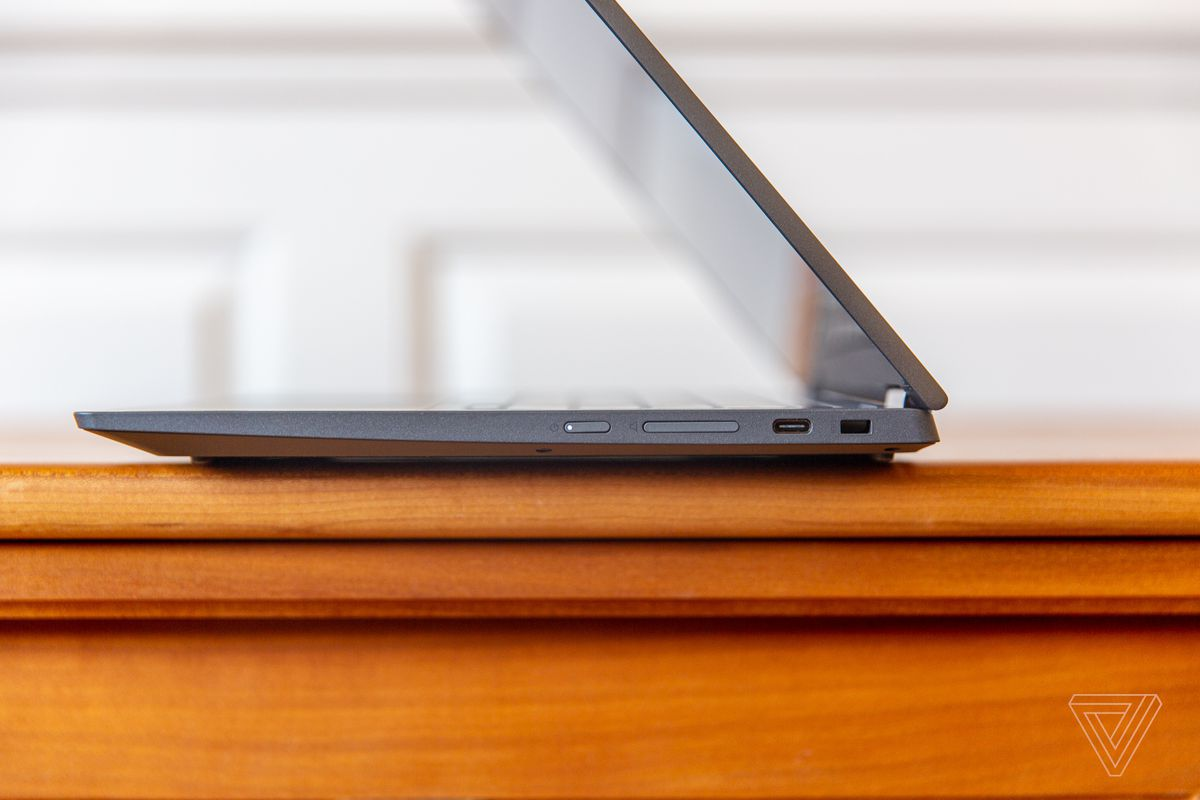 Lenovo Flex 5 Chromebook half open when viewed from the right.
