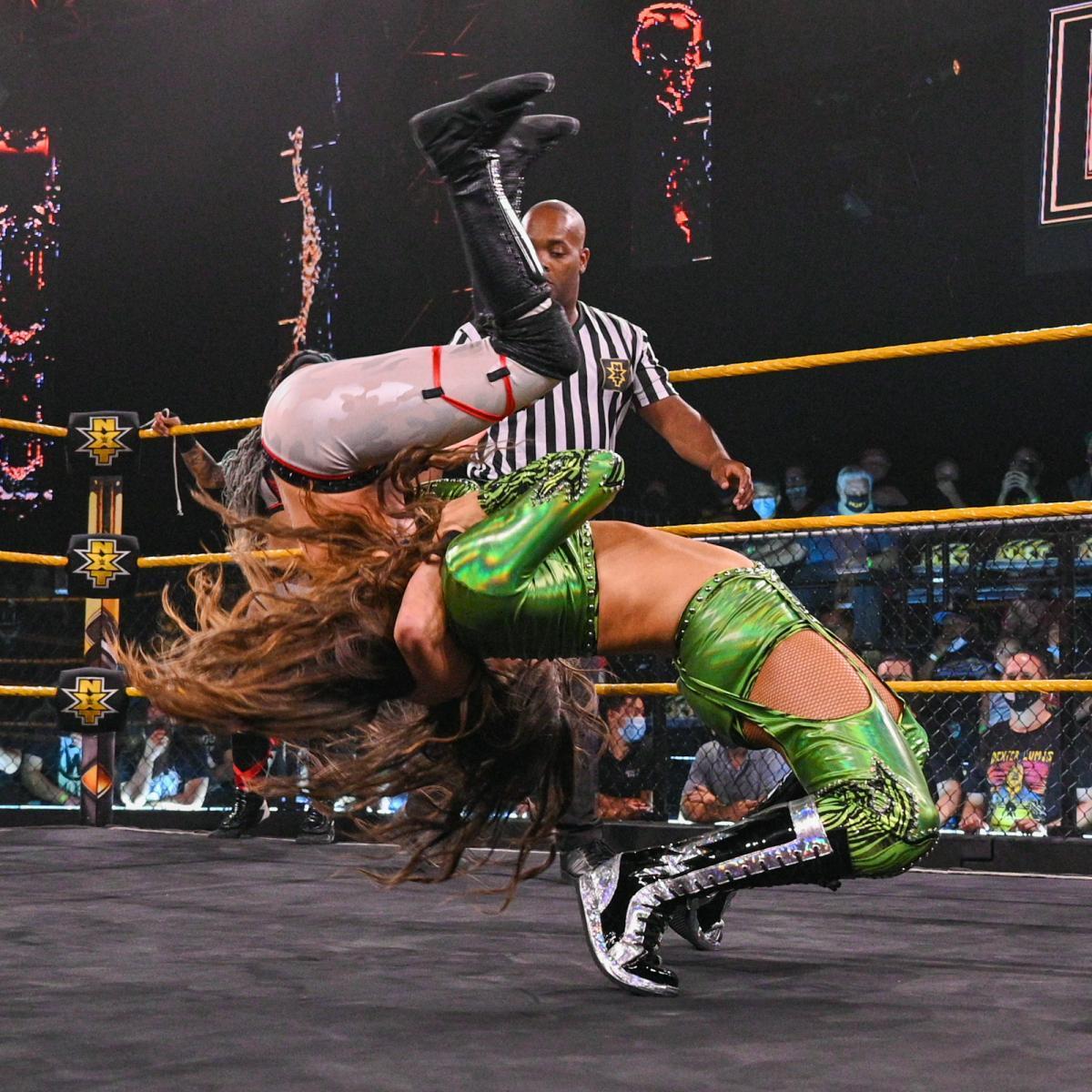 WWE women, Aliyah and Jessi Kamea (with Robert Stone) vs.