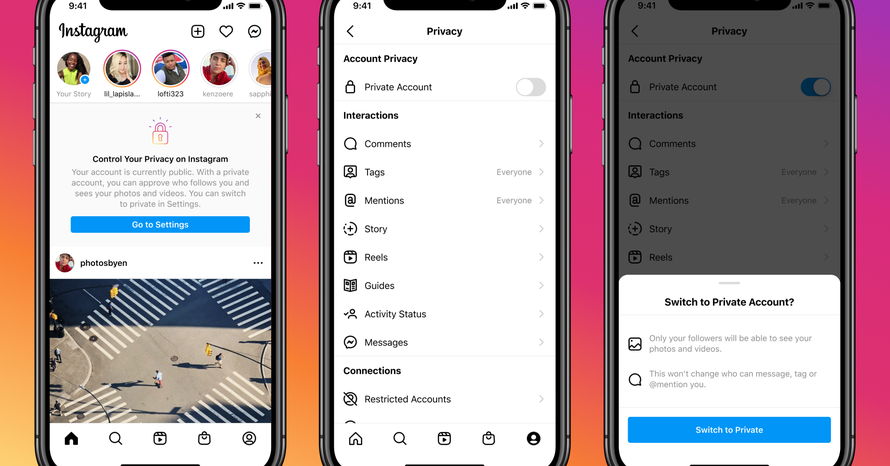 Instagram makes user accounts for people under the age of 16 private by default