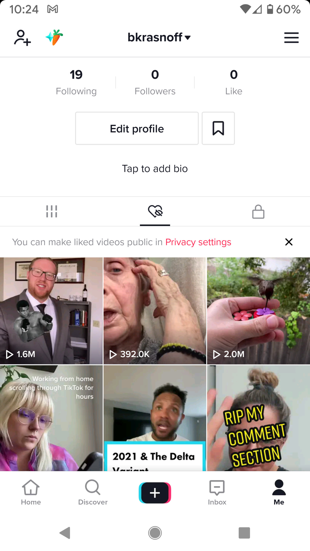 Tap the heart to see the videos you like.  Or tap the Next link at the top ...