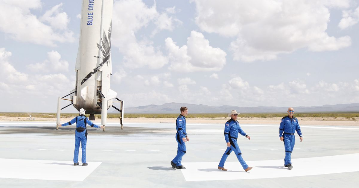 A globe-looking view of Blue Origin's Mottled Crew