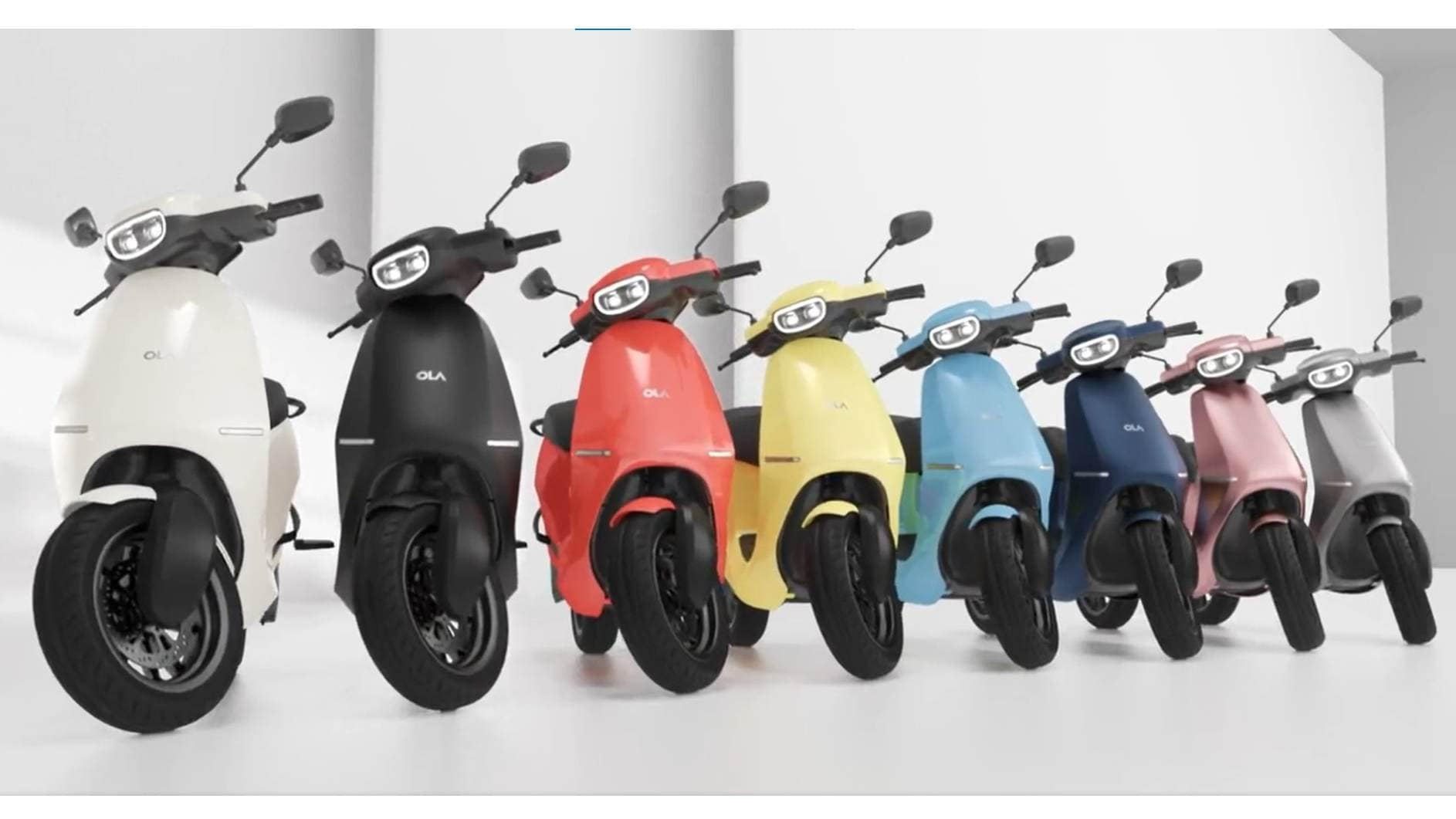 Eight of the ten color options for the Ola Electric e-scooter have been revealed in a new video.  Photo: Ola Electric
