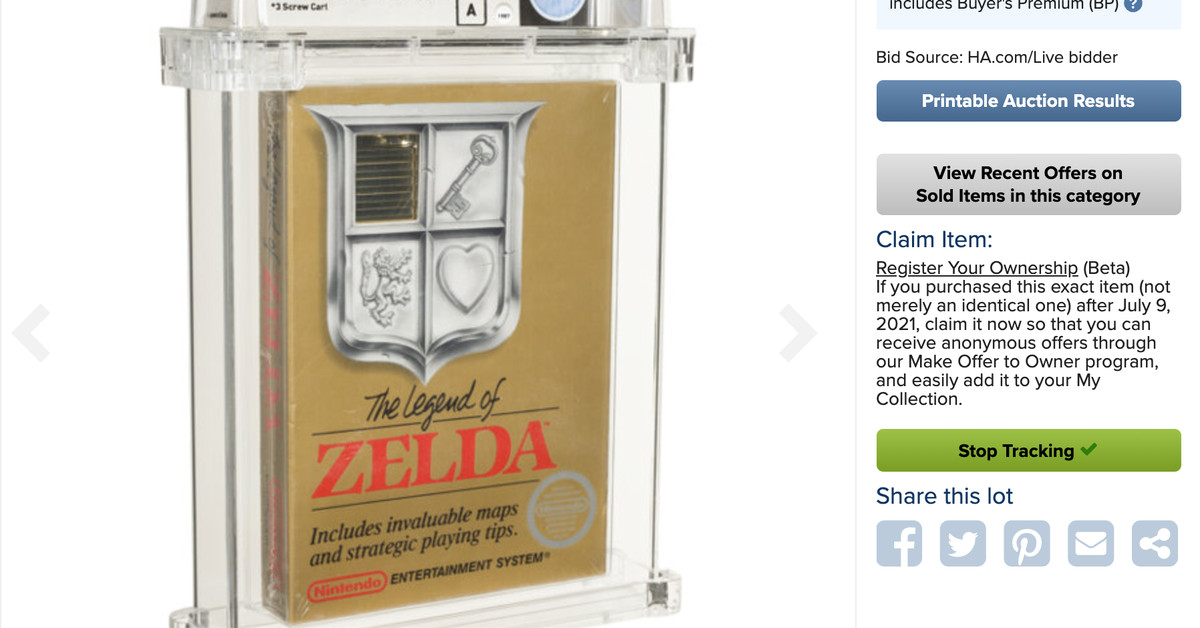 The closed copy of The Legend of Zelda sells for nearly a million dollars