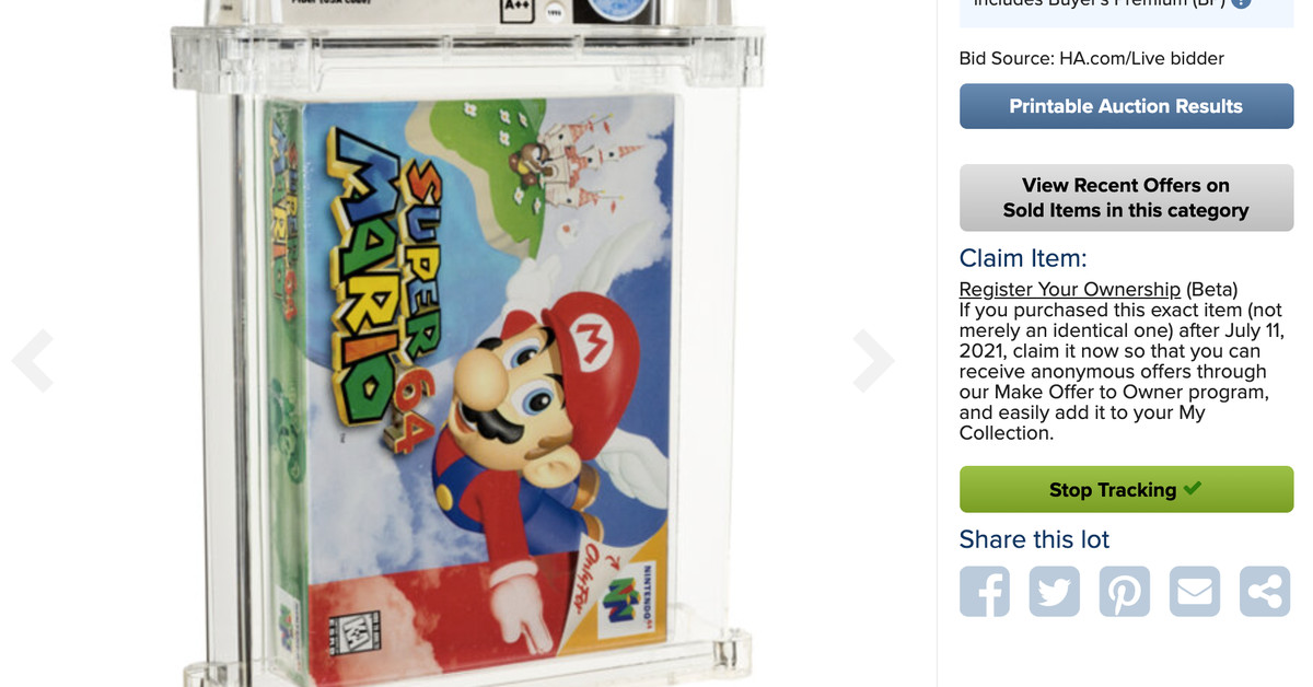 A copy of Super Mario 64 is now the most expensive game ever after it sold for $ 1.5 million