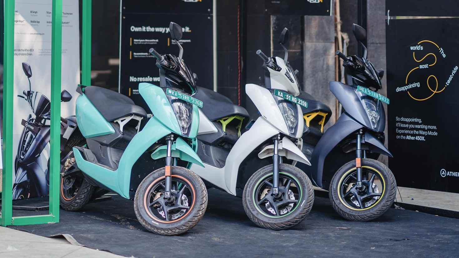 Prices for Ather Energy's 450 Plus and 450X scooters in Gujarat have dropped by Rs 20,000.  Photo: Ather Energy