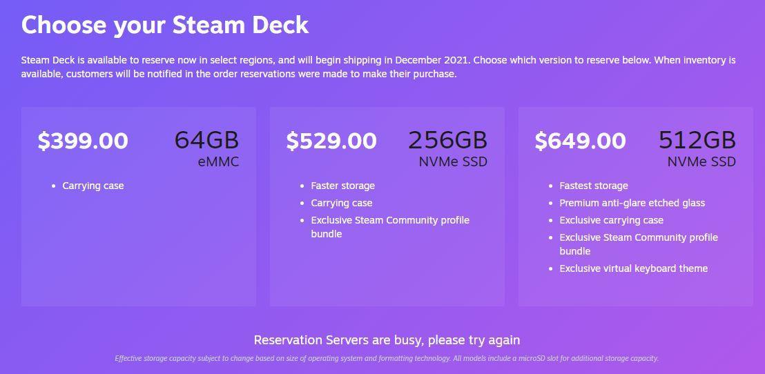 Steam Deck server busy message