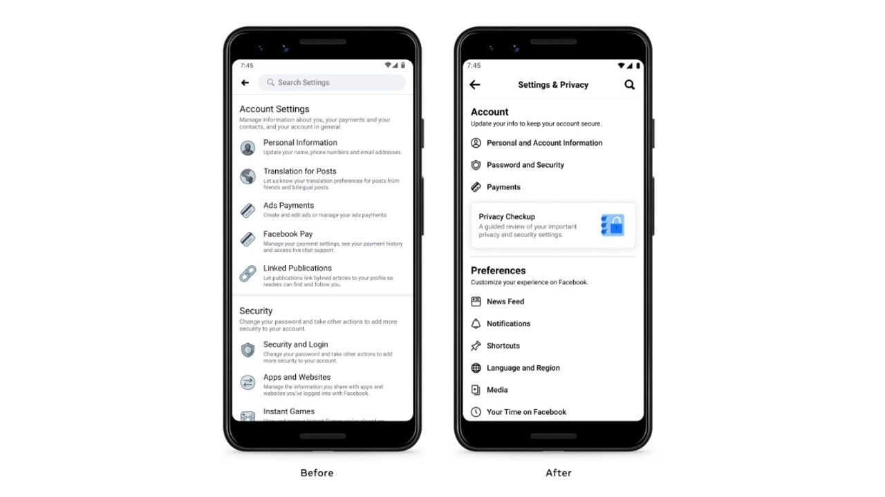 Facebook is revamping the Mobile app's Settings page to improve the user experience- Technology News, Firstpost