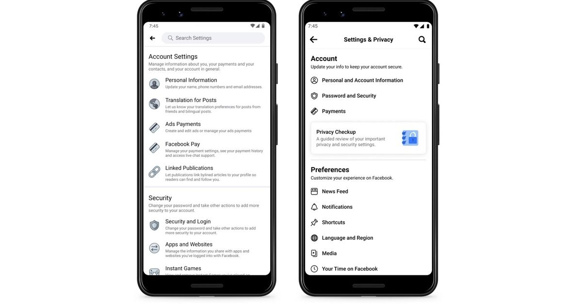 Facebook streamlines the settings page on your mobile device